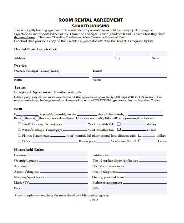 room renters agreement form