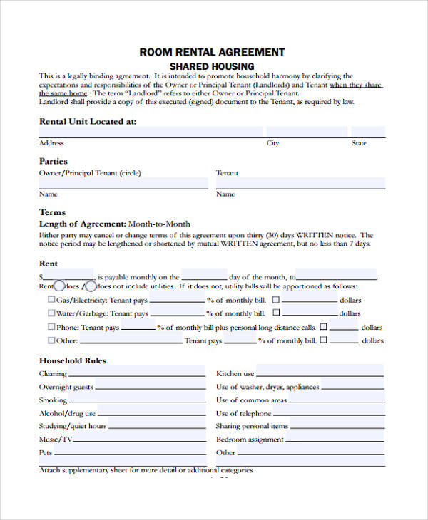 room in home rental agreement form2
