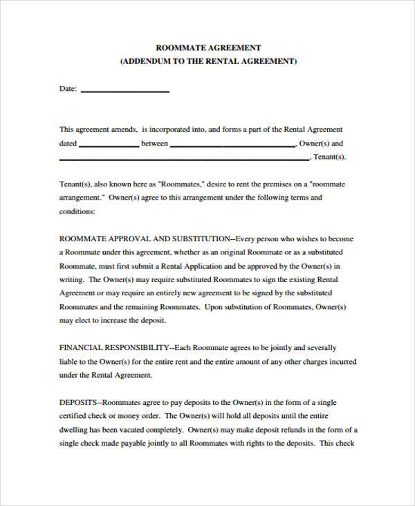 21 Sample Rental Agreement Forms – Roommate Rental Agreement