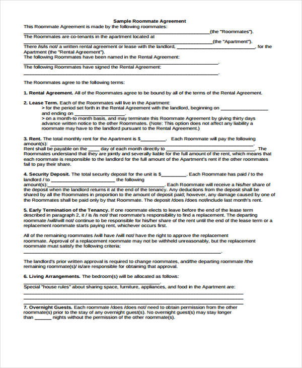 roommate rental agreement form example