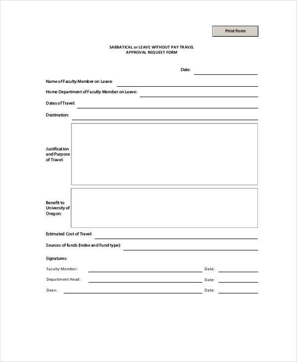 sabbatical travel approval request form