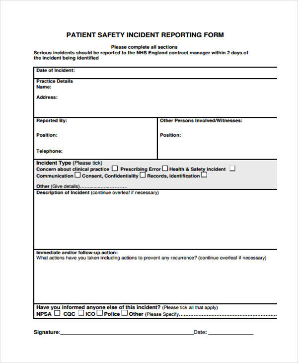 serious incident report template - incident report form bing images
