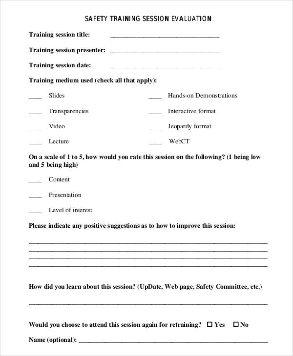 safety training session evaluation form