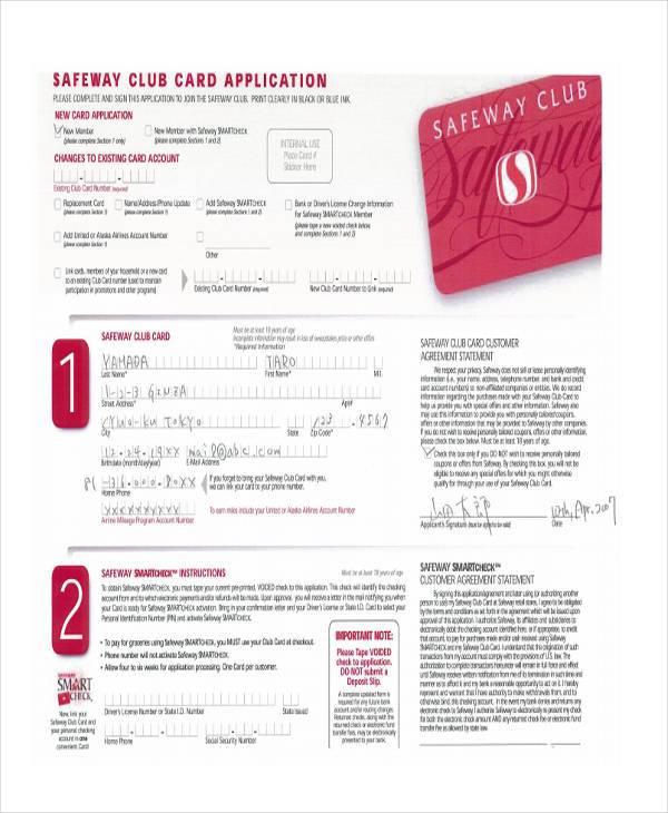 safeway club card application