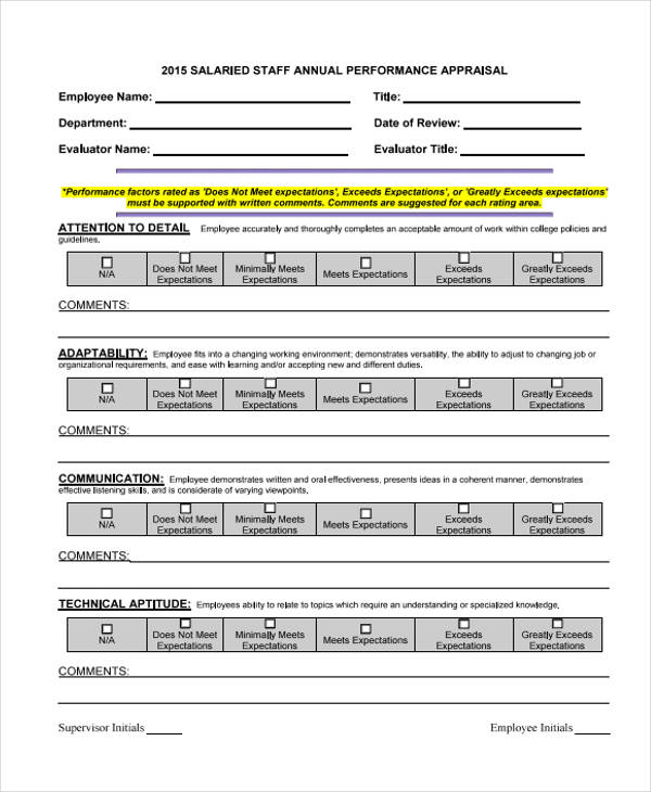 salaried staff annual appraisal form