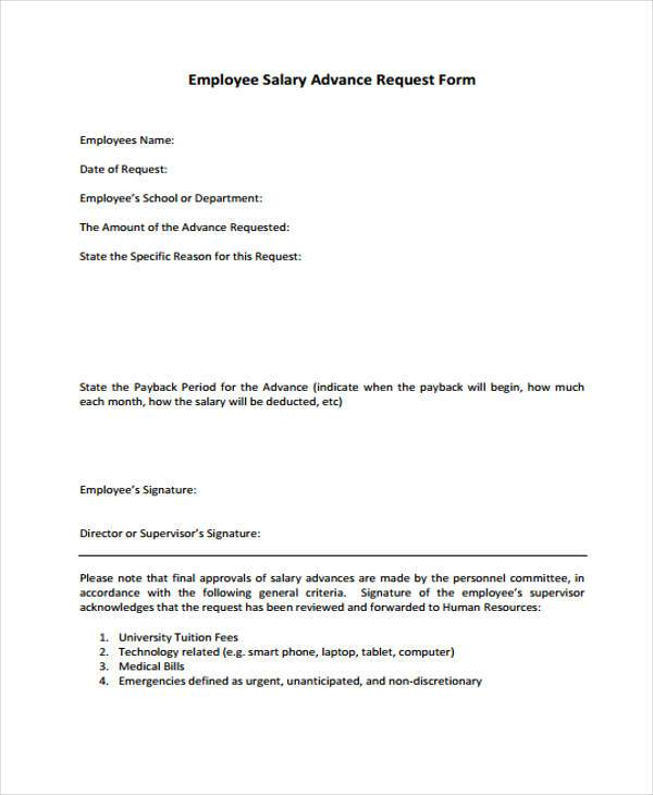 salary advance request form