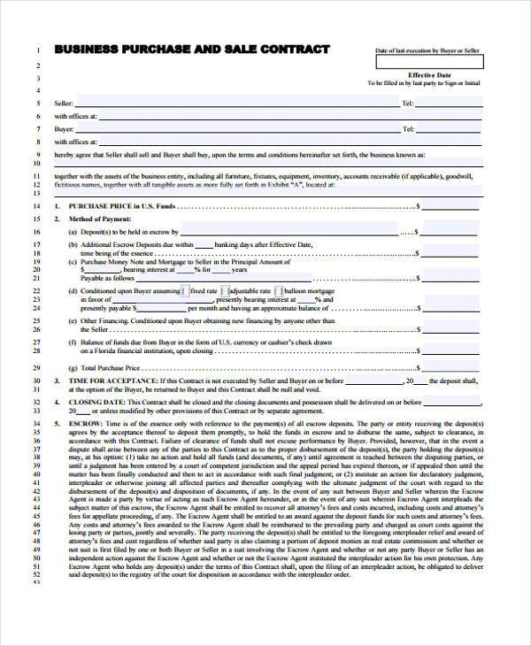 Sale And Purchase Contract Form For Business