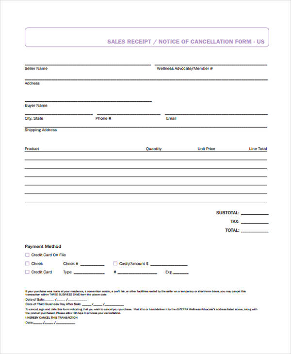 sales cancellation receipt form