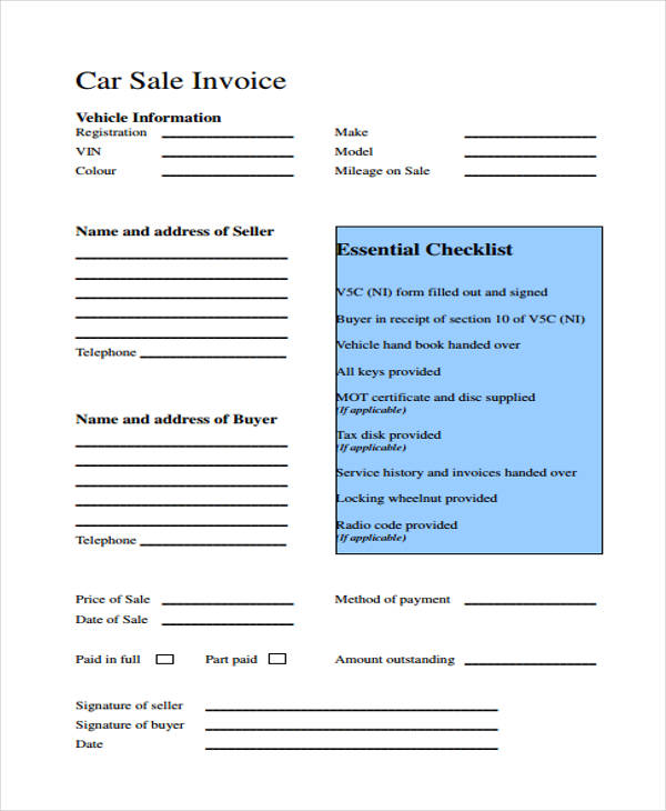 sales invoice receipt form