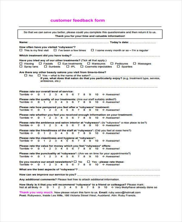 salon customer feedback form