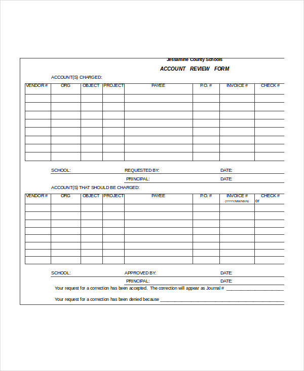 sample account review form