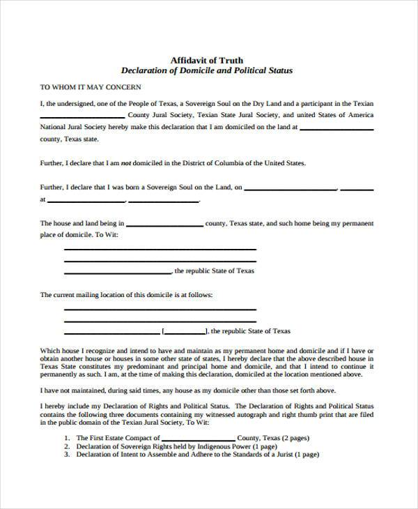 Affidavit Forms in PDF – Affidavit of Truth Template
