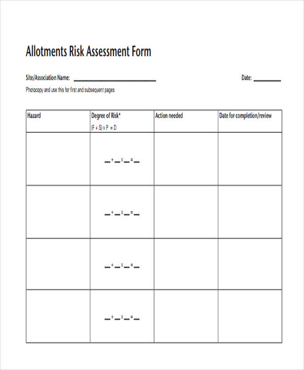 sample allotments risk assessment form