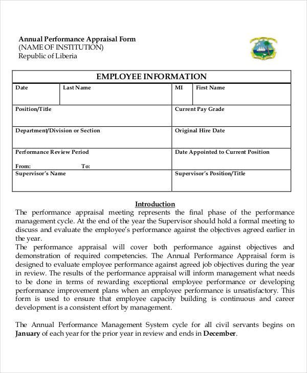 sample annual performance appraisal form