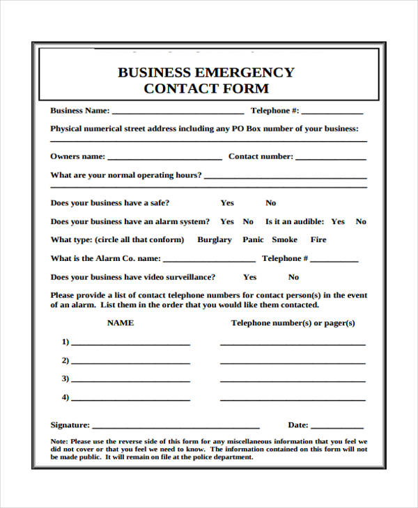 sample business emergency contact form