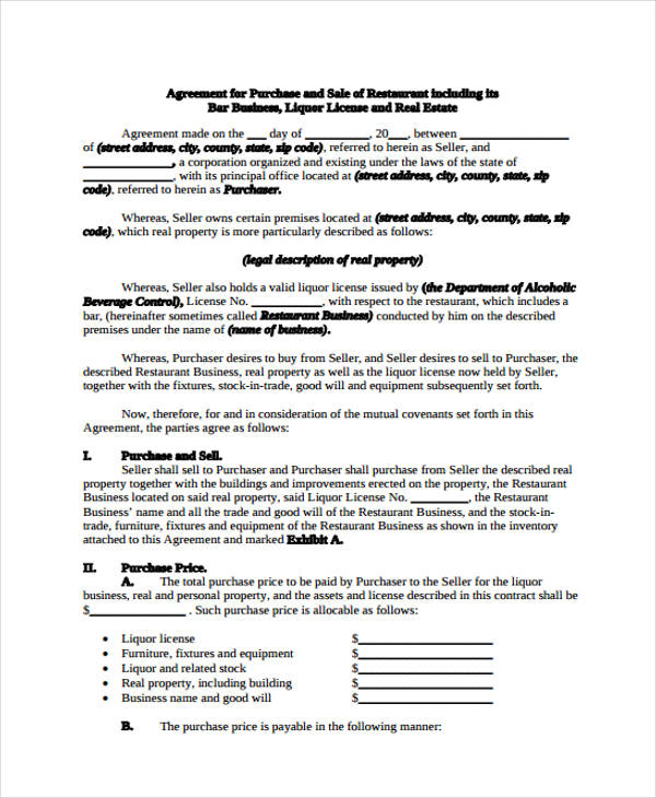 Free Business Agreement Form 30 Free Documents in Word PDF – Free Business Purchase Agreement