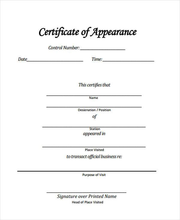 sample certificate of appearance form