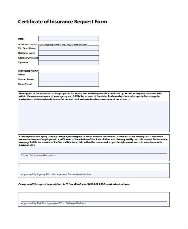 sample certificate of insurance request form