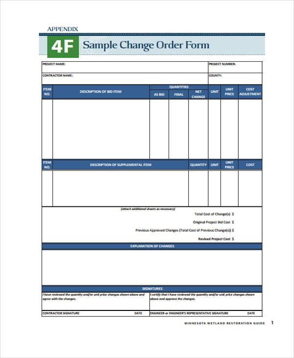 Sample Change Order Form