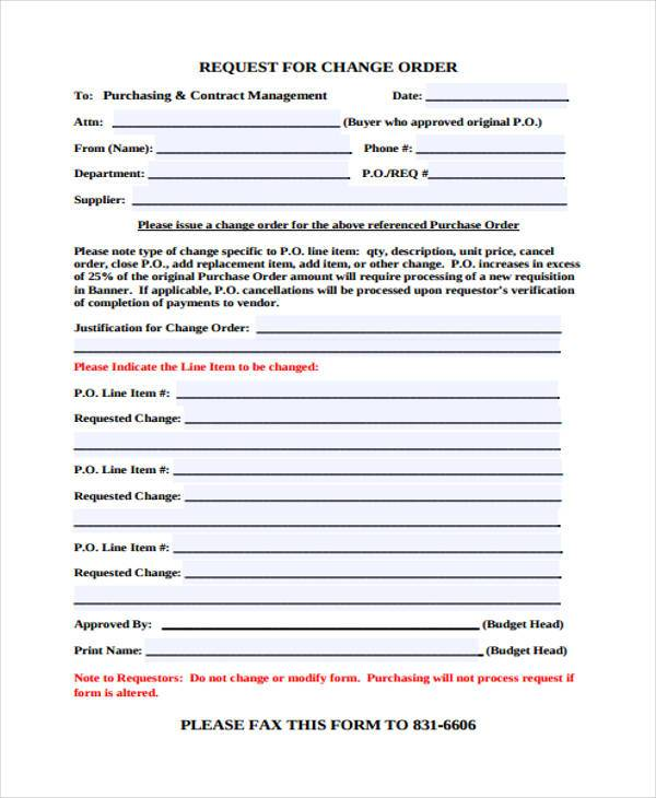 sample change order request form1