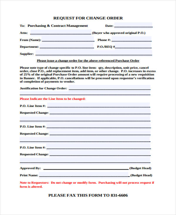 sample change order request form2