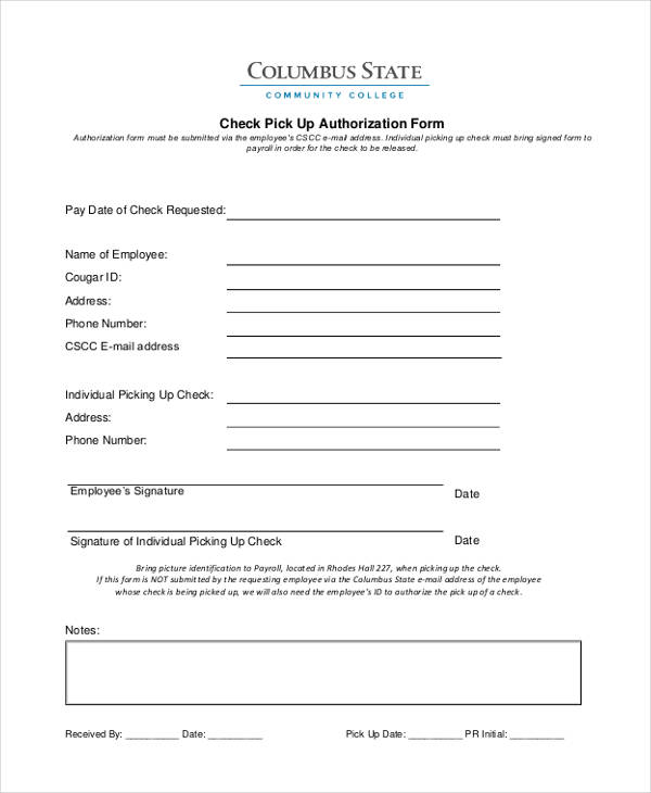 sample check pick up authorization form