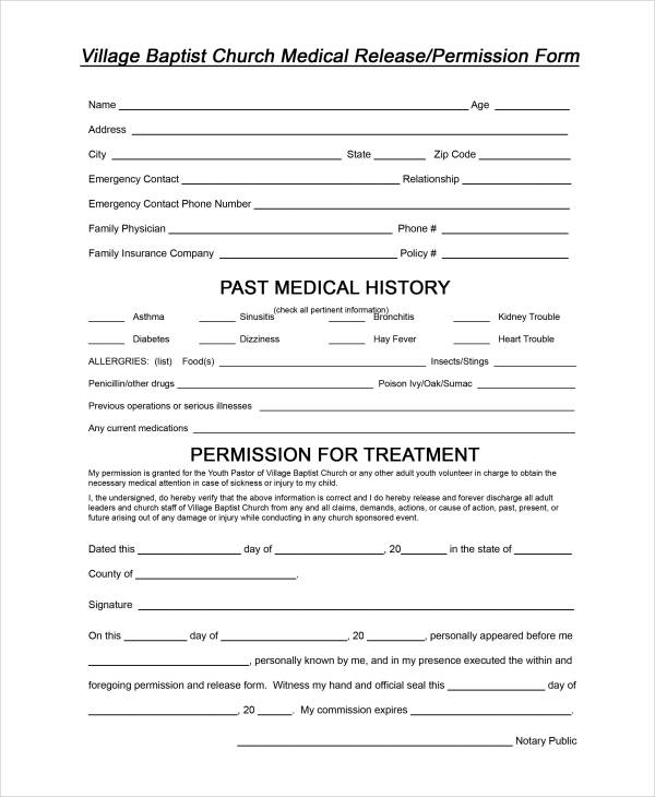 sample church medical release form