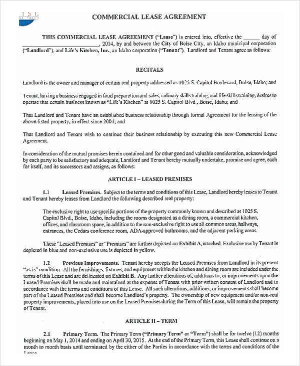 Lease Agreement Form Template – Sample Commercial Lease Agreement