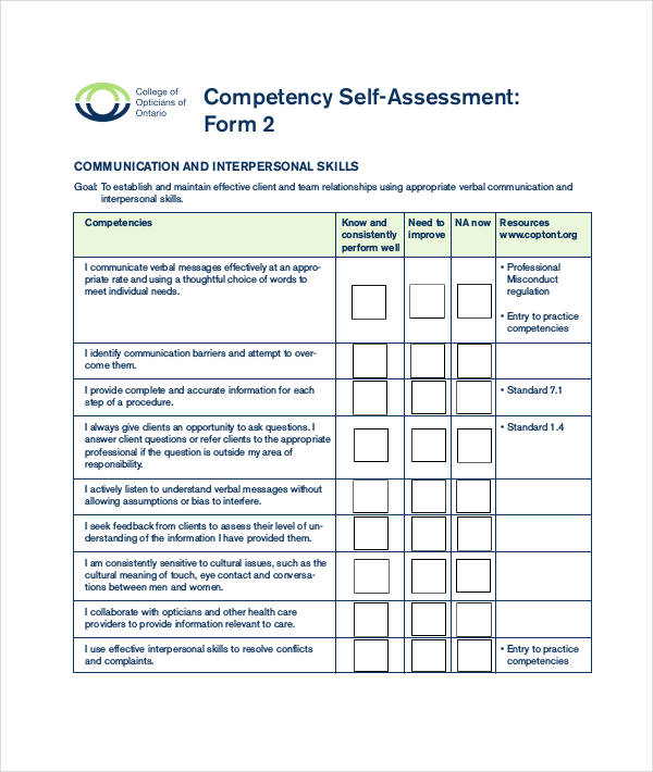sample competency self assessment form