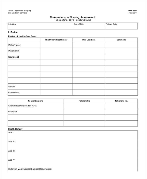 Awesome Sample Nursing Assessment Form Photos  Best Resume