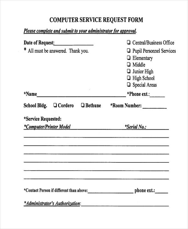 29 sample service forms sample computer service request form pronofoot35fo Choice Image