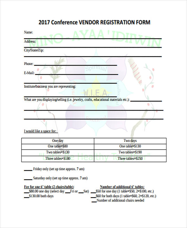 21 Conference Registration Forms