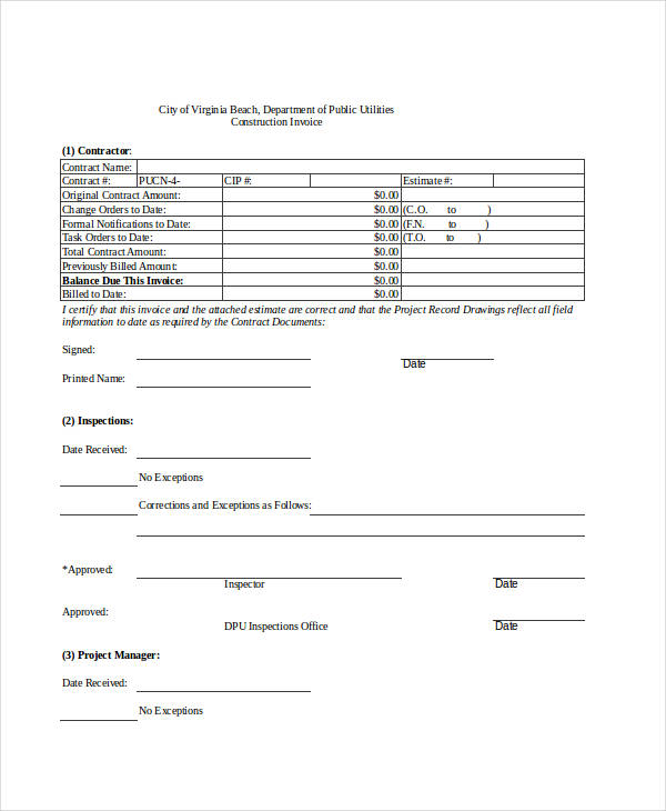 sample construction invoice form