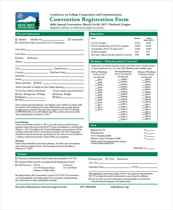Sample Registration Forms In Pdf