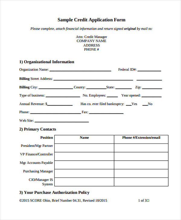 Credit Application Form Templates