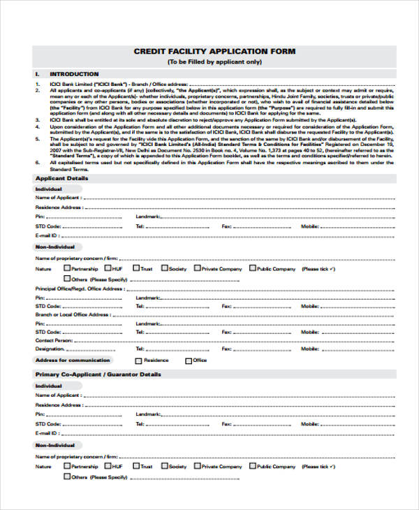 sample credit facilities application form