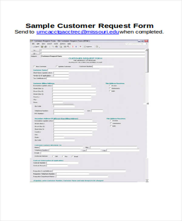 sample customer request form