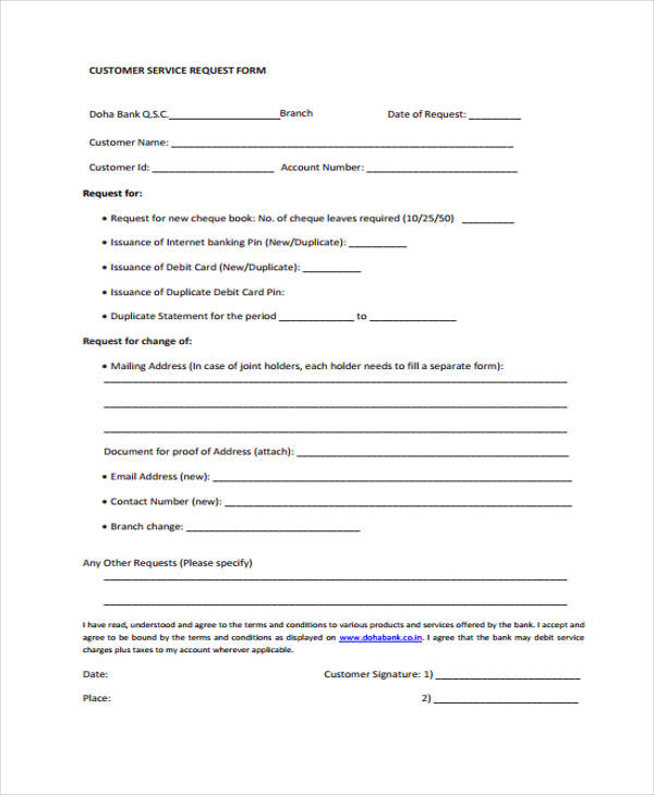 Sample Customer Request Form  Examples In Word Pdf