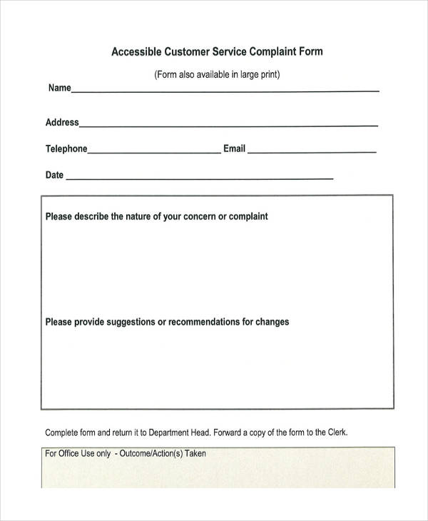 sample customer service complaint form
