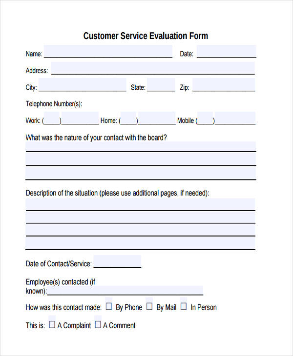 sample customer service evaluation form
