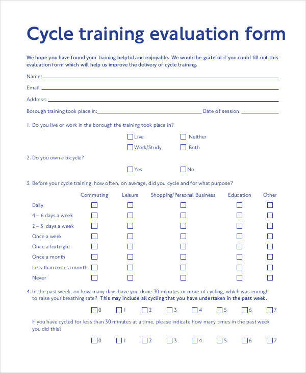 Sample-Cycle-Training-Evaluation-Form Safety Evaluation Form Example on family reunion, many parties,