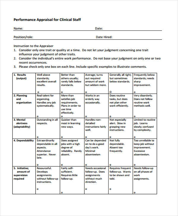 Sample Staff Evaluation Form  CityEsporaCo