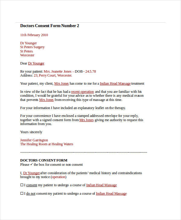 sample doctor consent form