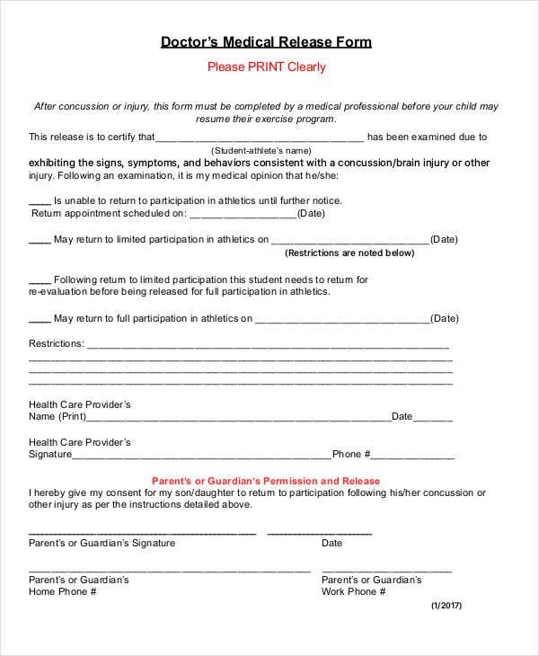 sample doctor medical release form