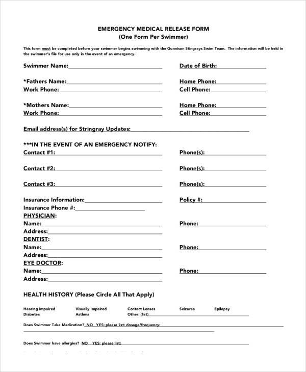sample emergency medical release form