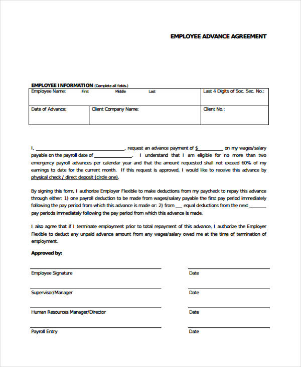 employee advance loan agreement sample