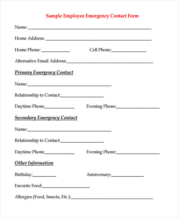 Attractive Sample Employee Emergency Contact Form
