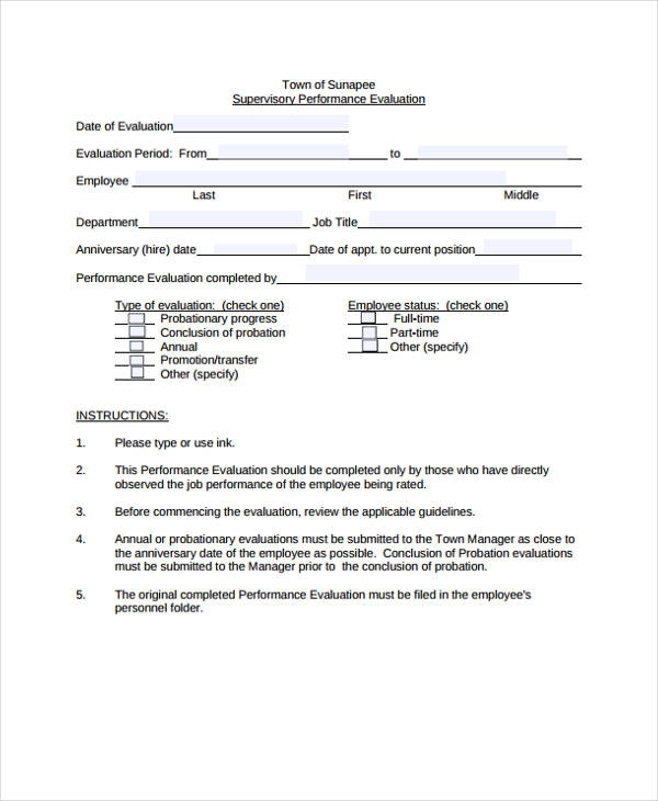 sample employee evaluation supervisor form