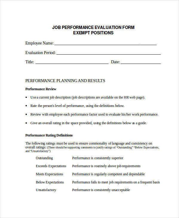 sample employee job evaluation form