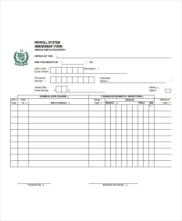 sample employee payroll form